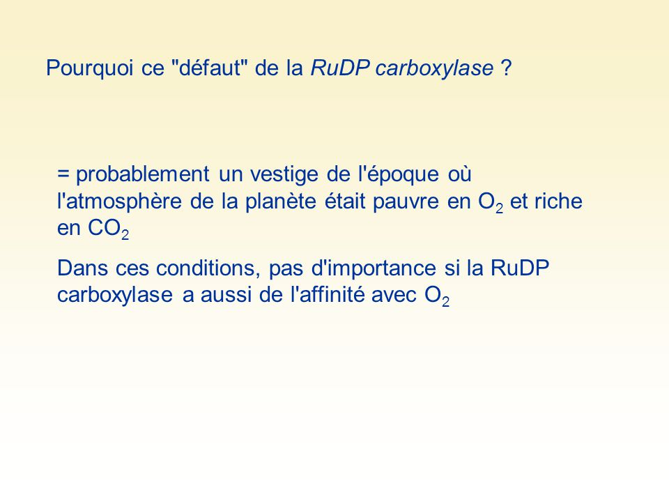 Pourquoi ce défaut de la RuDP carboxylase