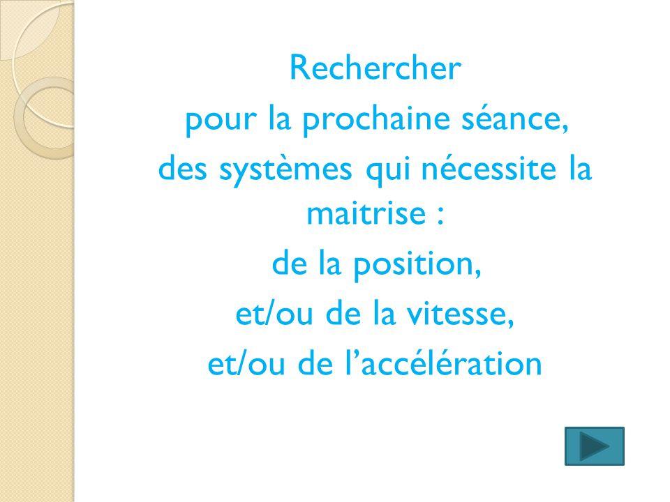 Rechercher pour la prochaine séance, des systèmes qui nécessite la maitrise : de la position, et/ou de la vitesse, et/ou de l'accélération