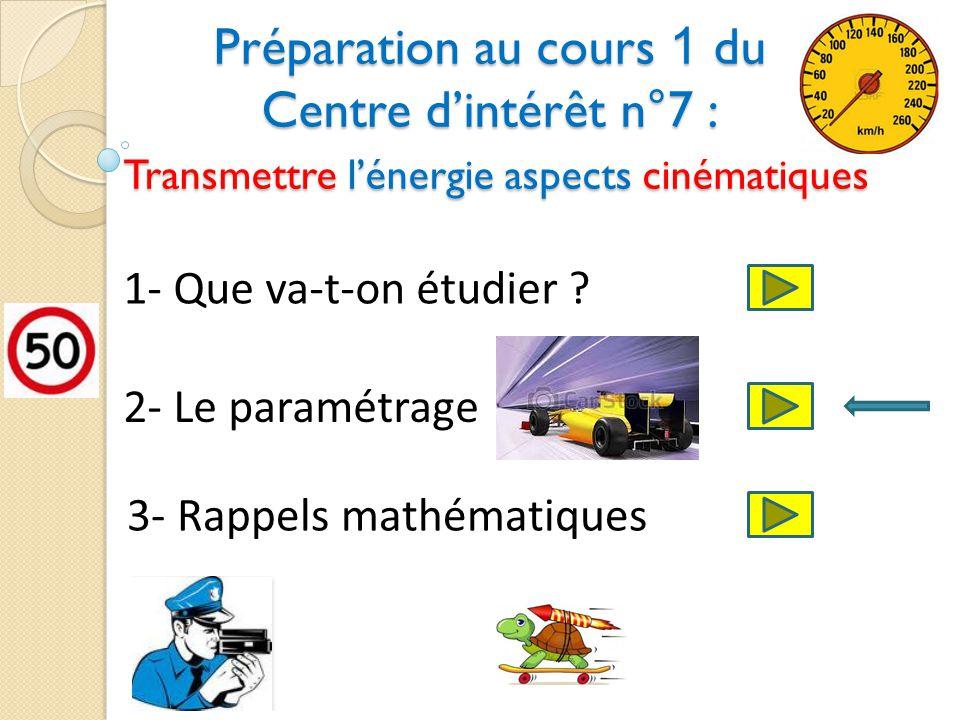 Préparation au cours 1 du Centre d'intérêt n°7 : Transmettre l'énergie aspects cinématiques
