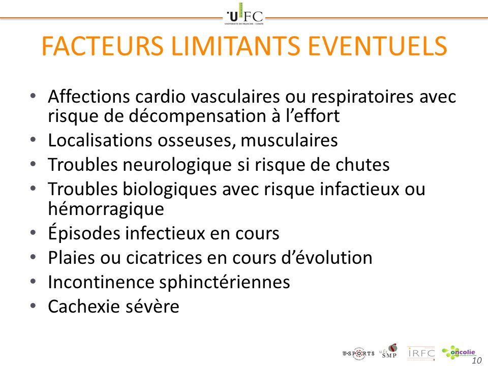 FACTEURS LIMITANTS EVENTUELS