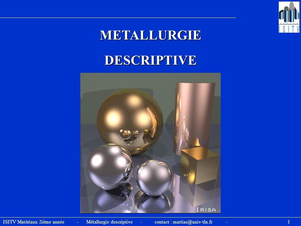 METALLURGIE DESCRIPTIVE