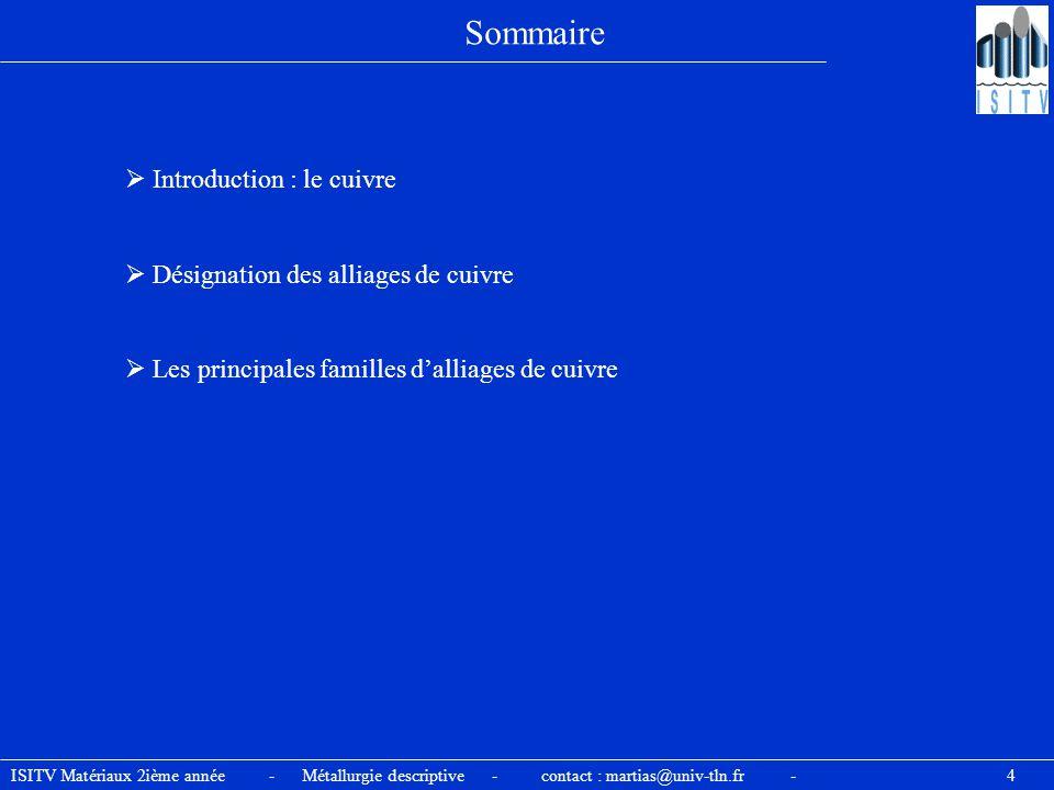 Sommaire  Introduction : le cuivre