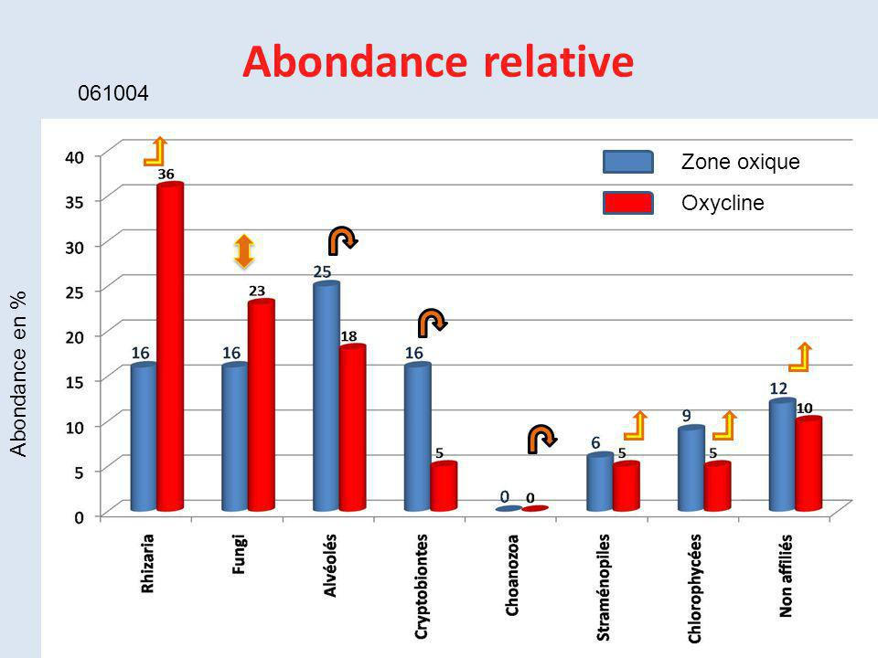 Abondance relative 061004 Zone oxique Oxycline Abondance en %