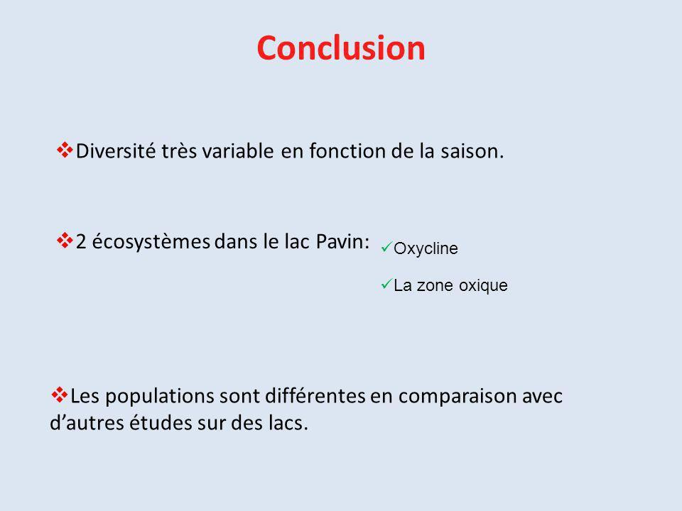Conclusion Diversité très variable en fonction de la saison.