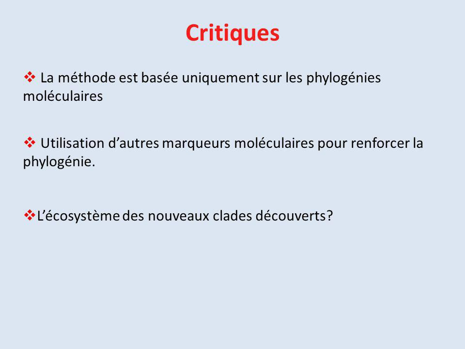Critiques La méthode est basée uniquement sur les phylogénies moléculaires.