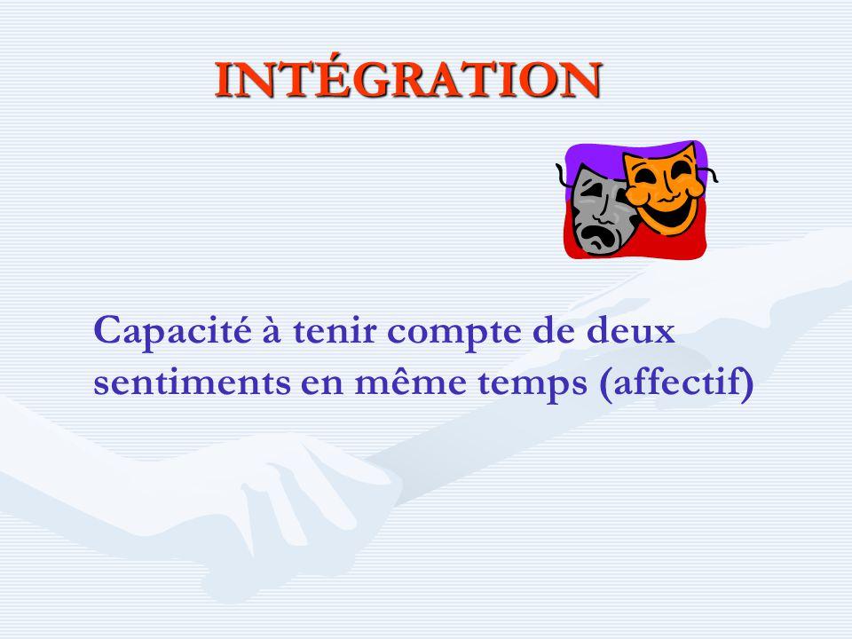 INTÉGRATION Capacité à tenir compte de deux sentiments en même temps (affectif)