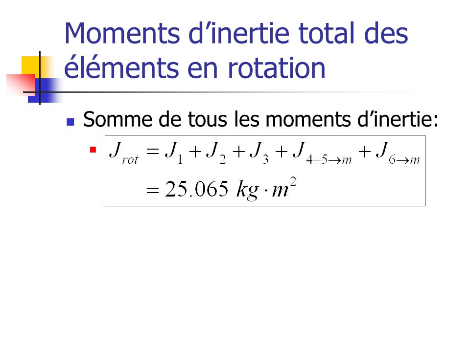 Moments d'inertie total des éléments en rotation