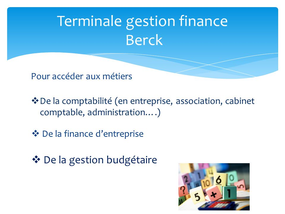 Terminale gestion finance Berck