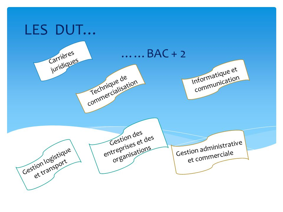 LES DUT… ……BAC + 2 Carrières juridiques Informatique et communication