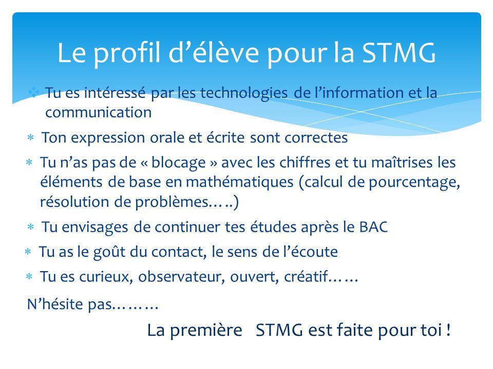 Le profil d'élève pour la STMG
