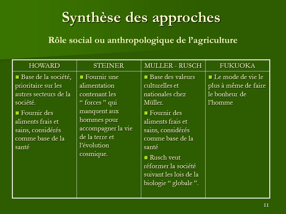 Synthèse des approches