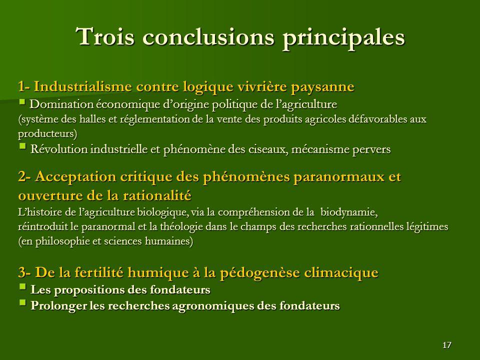 Trois conclusions principales