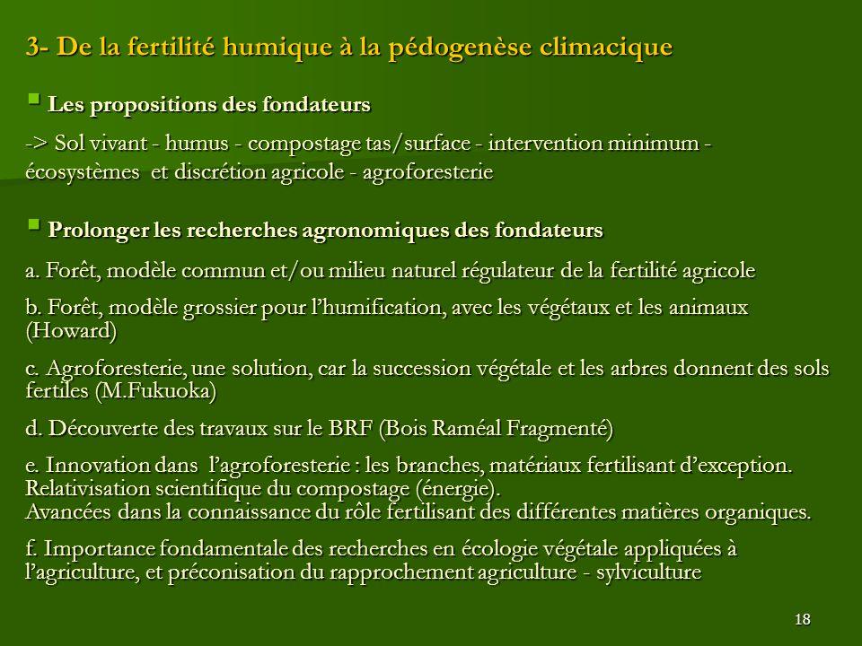 3- De la fertilité humique à la pédogenèse climacique