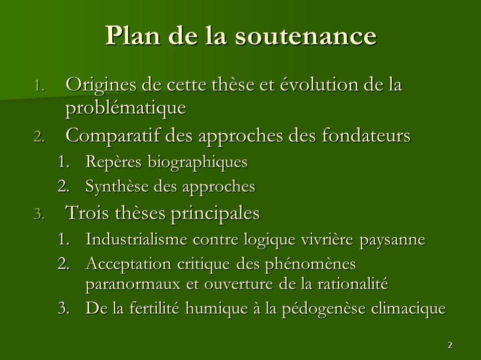Plan de la soutenance Origines de cette thèse et évolution de la problématique. Comparatif des approches des fondateurs.