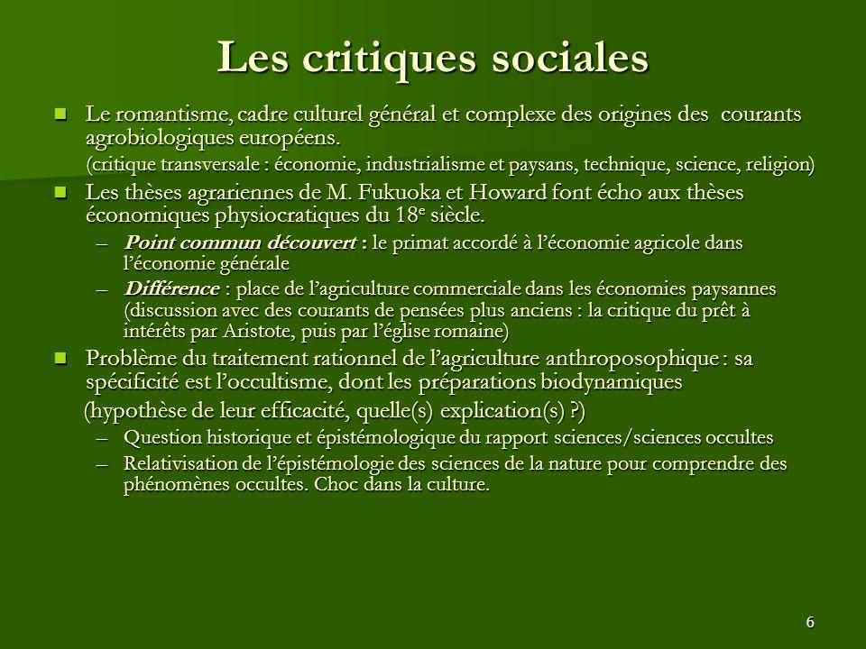 Les critiques sociales