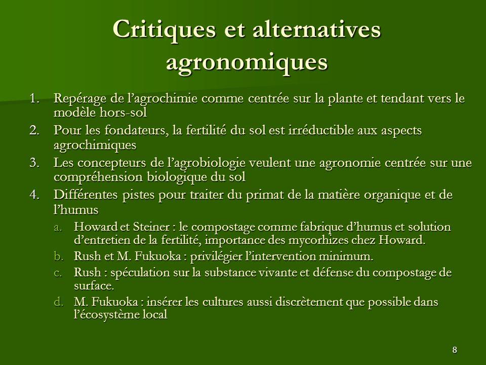 Critiques et alternatives agronomiques