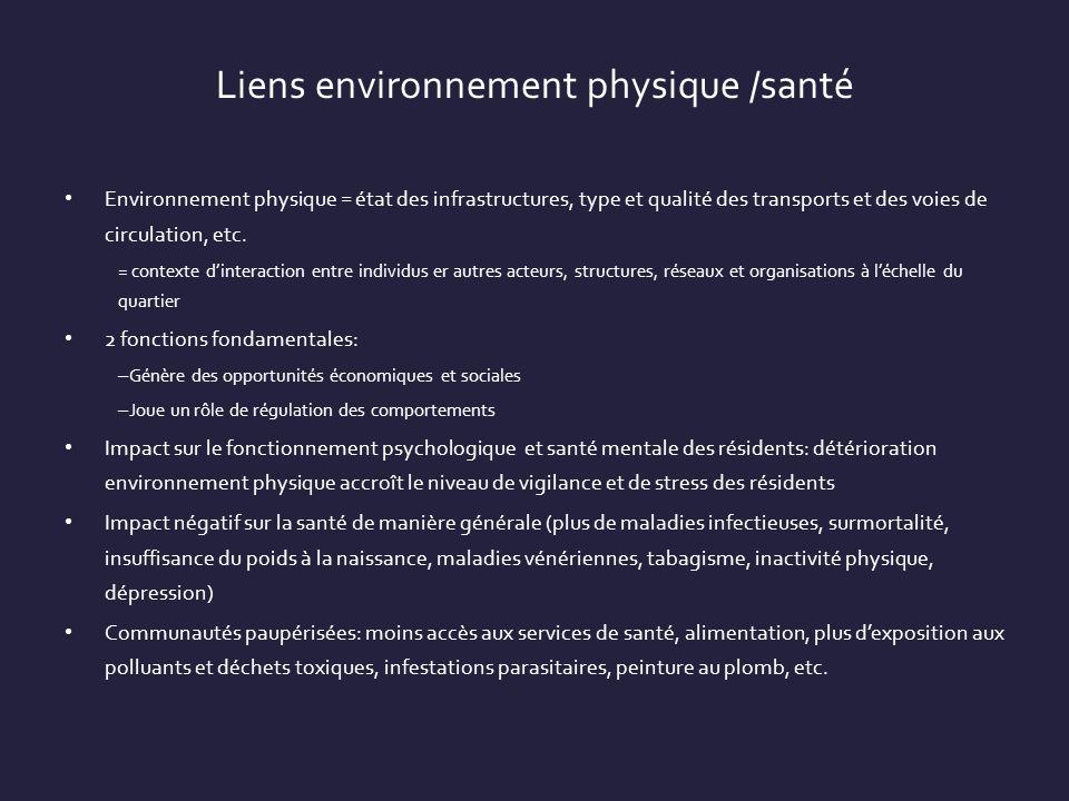 Liens environnement physique /santé