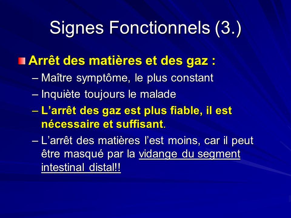 Signes Fonctionnels (3.)