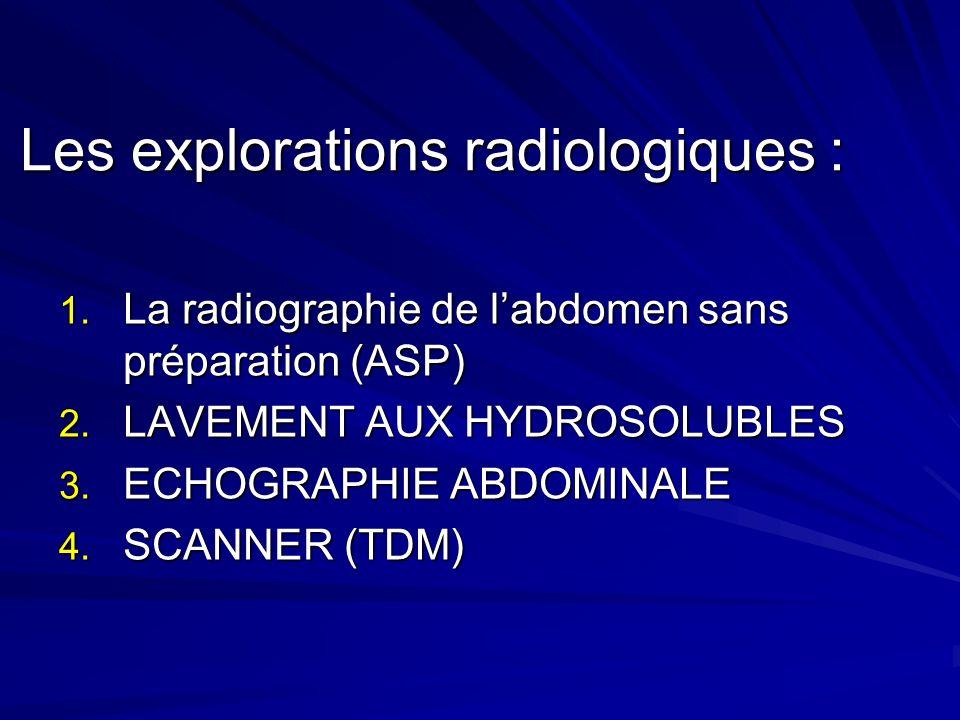 Les explorations radiologiques :