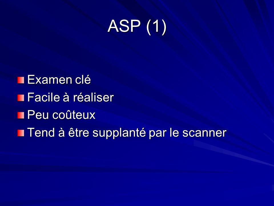 ASP (1) Examen clé Facile à réaliser Peu coûteux