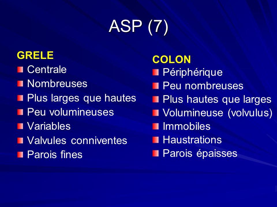 ASP (7) GRELE COLON Centrale Périphérique Nombreuses Peu nombreuses