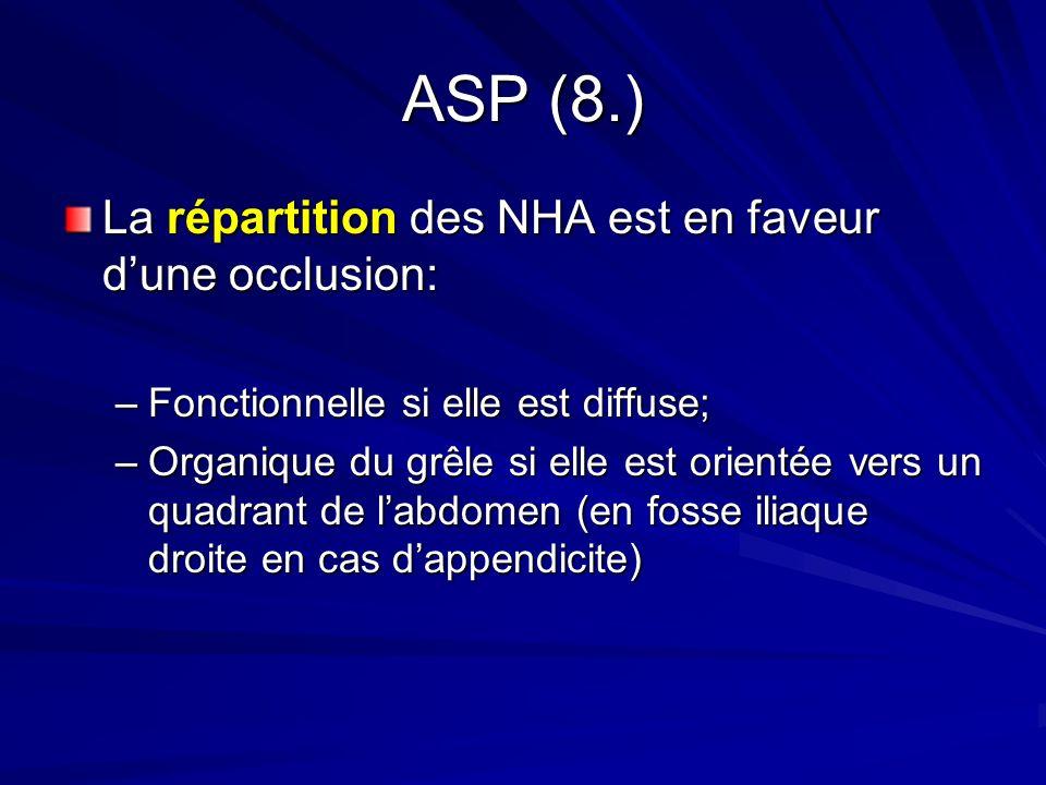 ASP (8.) La répartition des NHA est en faveur d'une occlusion:
