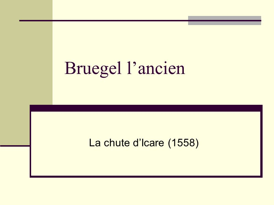 Bruegel l'ancien La chute d'Icare (1558)