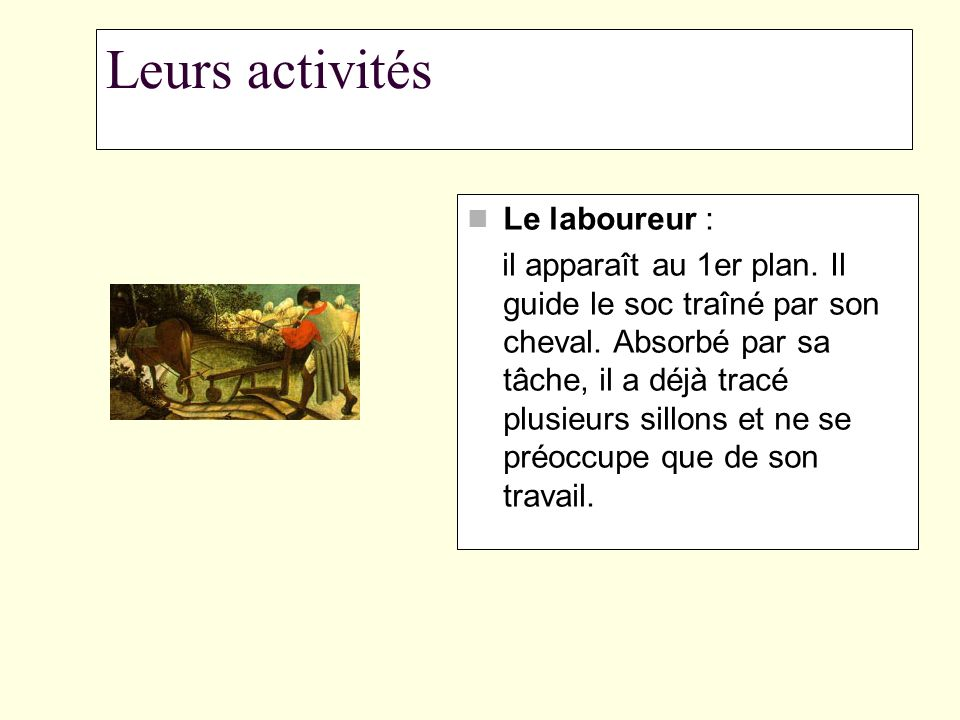Leurs activités Le laboureur :