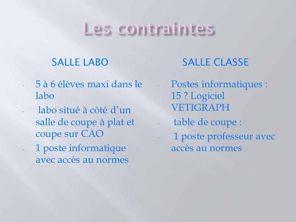Les contraintes Salle labo Salle classe 5 à 6 élèves maxi dans le labo