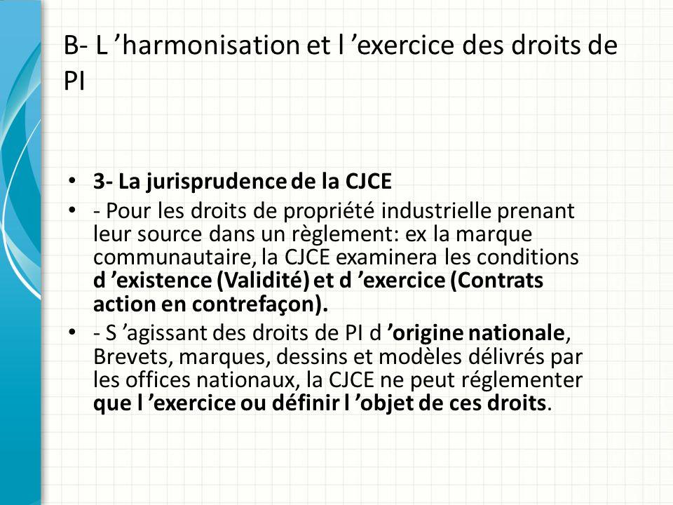 B- L 'harmonisation et l 'exercice des droits de PI