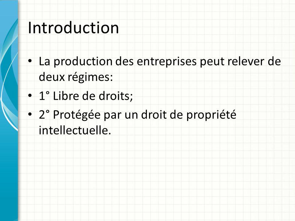 Introduction La production des entreprises peut relever de deux régimes: 1° Libre de droits; 2° Protégée par un droit de propriété intellectuelle.