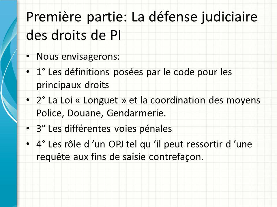 Première partie: La défense judiciaire des droits de PI