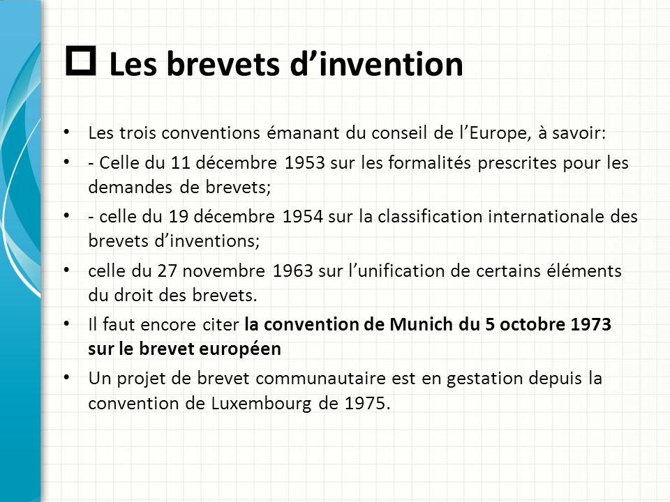  Les brevets d'invention