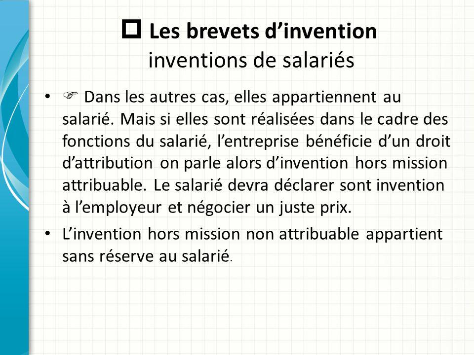  Les brevets d'invention inventions de salariés