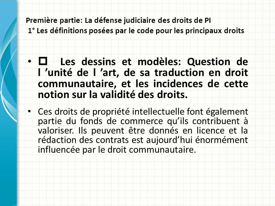 Première partie: La défense judiciaire des droits de PI 1° Les définitions posées par le code pour les principaux droits