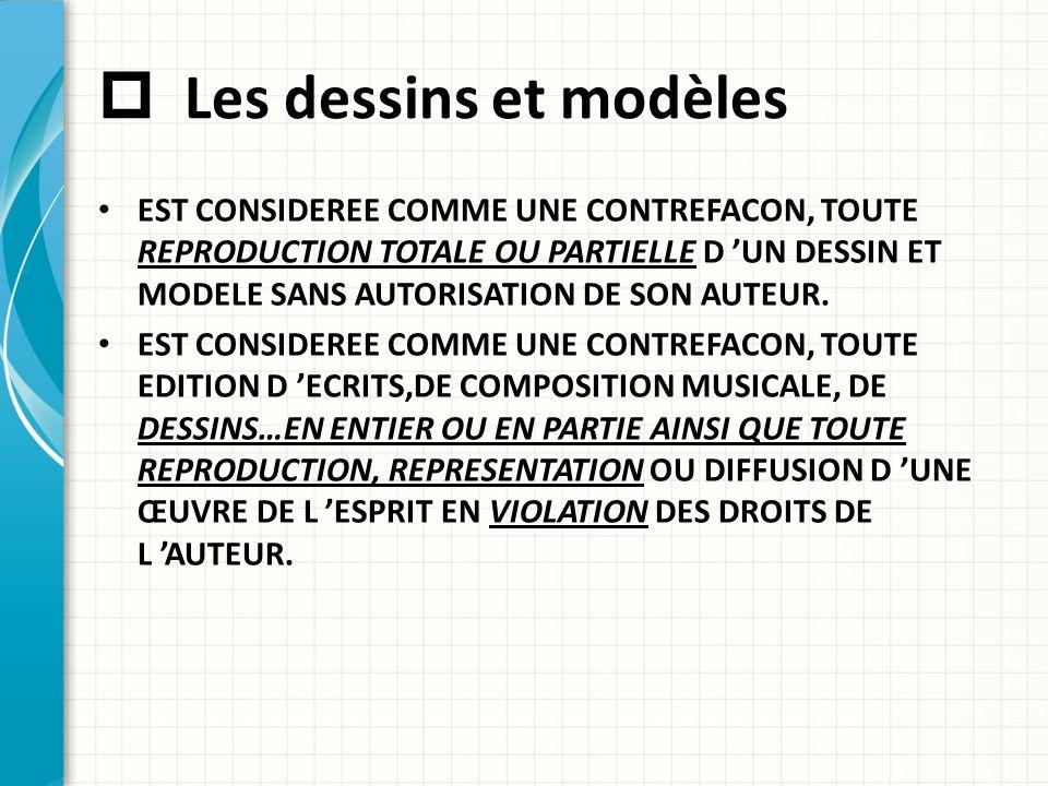  Les dessins et modèles