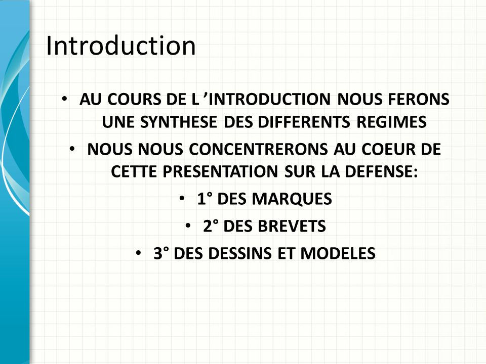 Introduction AU COURS DE L 'INTRODUCTION NOUS FERONS UNE SYNTHESE DES DIFFERENTS REGIMES.