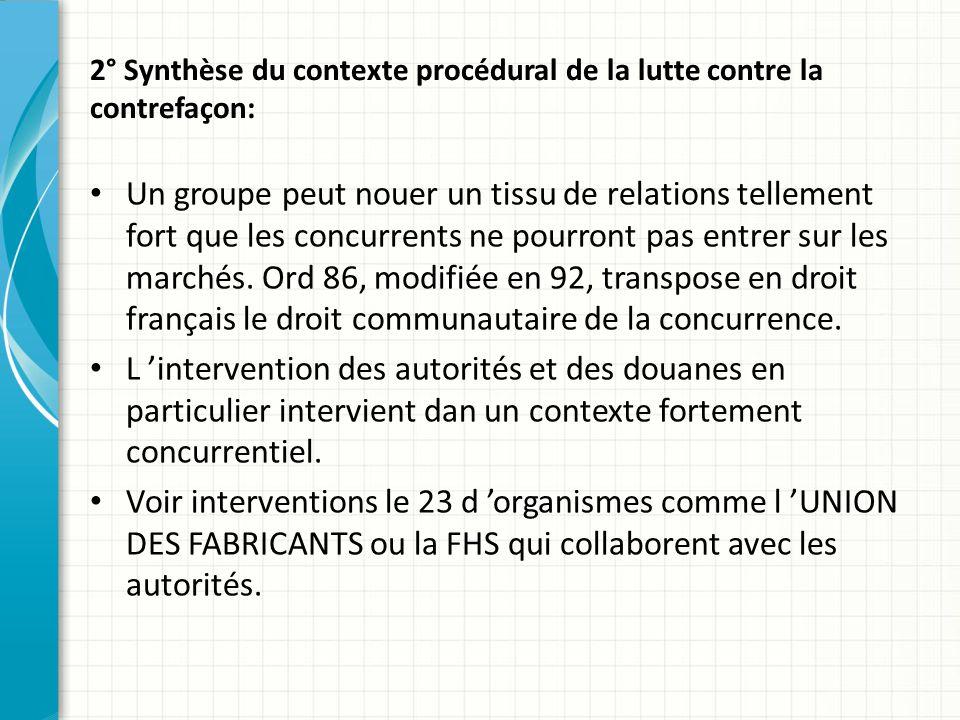 2° Synthèse du contexte procédural de la lutte contre la contrefaçon: