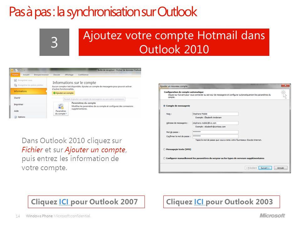3 Pas à pas : la synchronisation sur Outlook