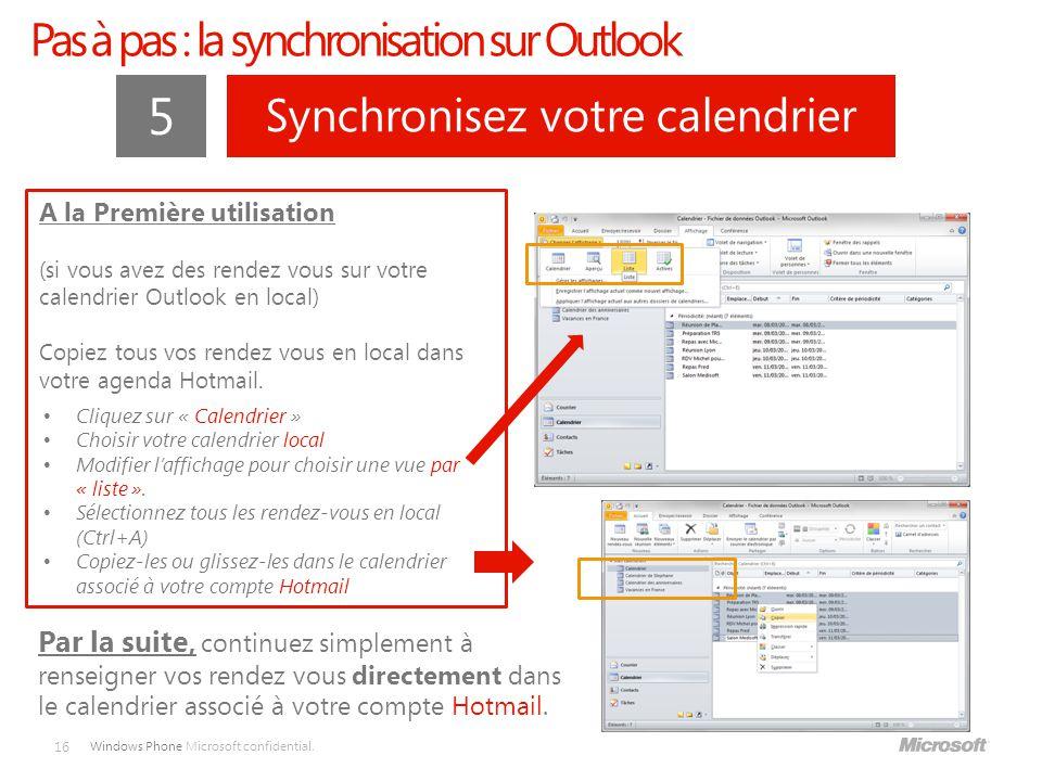 5 Pas à pas : la synchronisation sur Outlook