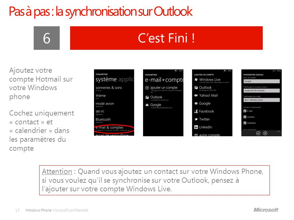 Pas à pas : la synchronisation sur Outlook