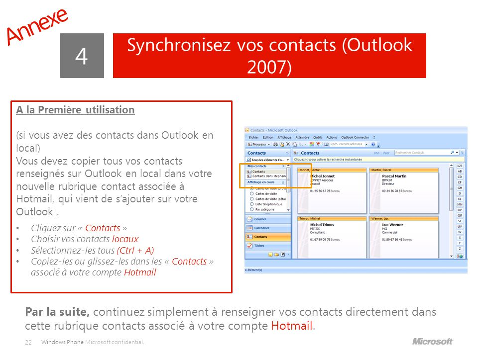 Synchronisez vos contacts (Outlook 2007)