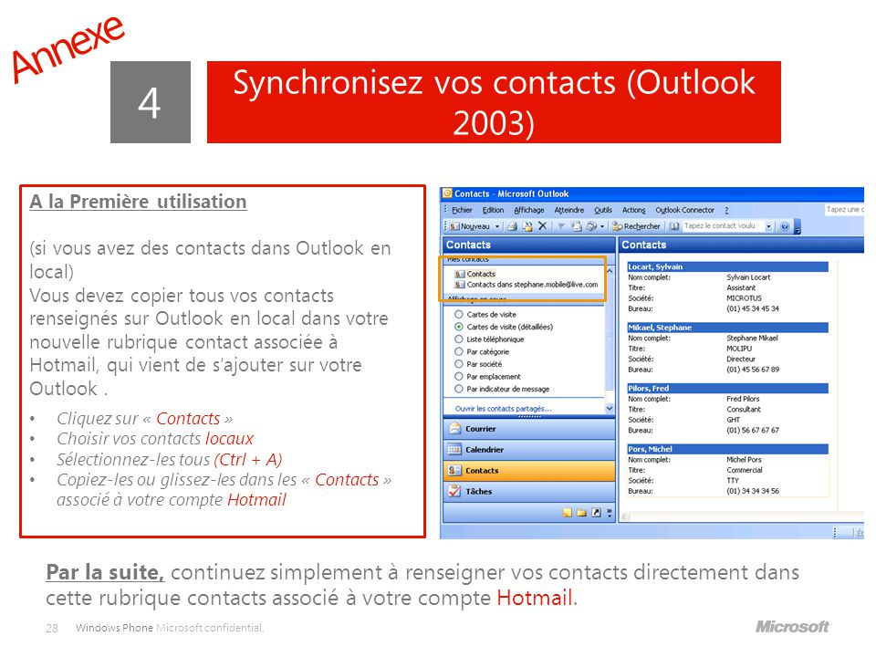 Synchronisez vos contacts (Outlook 2003)