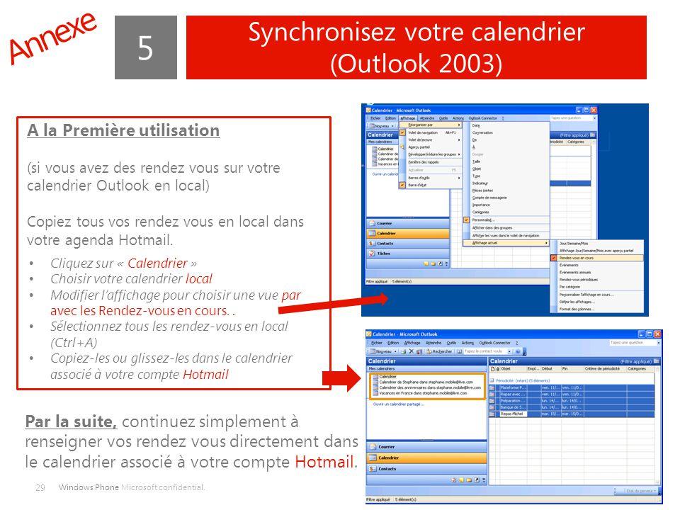 Synchronisez votre calendrier (Outlook 2003)