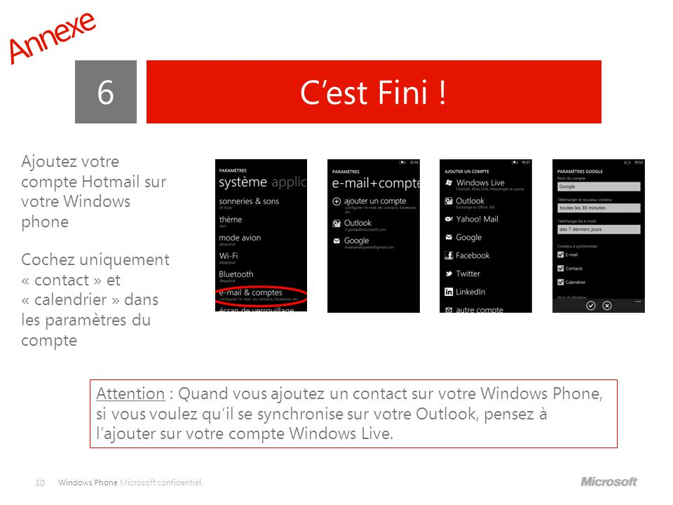 Annexe 6. C'est Fini ! Ajoutez votre compte Hotmail sur votre Windows phone.