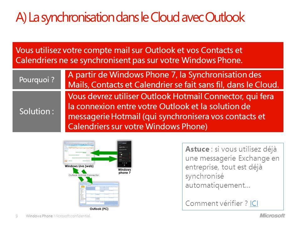 A) La synchronisation dans le Cloud avec Outlook