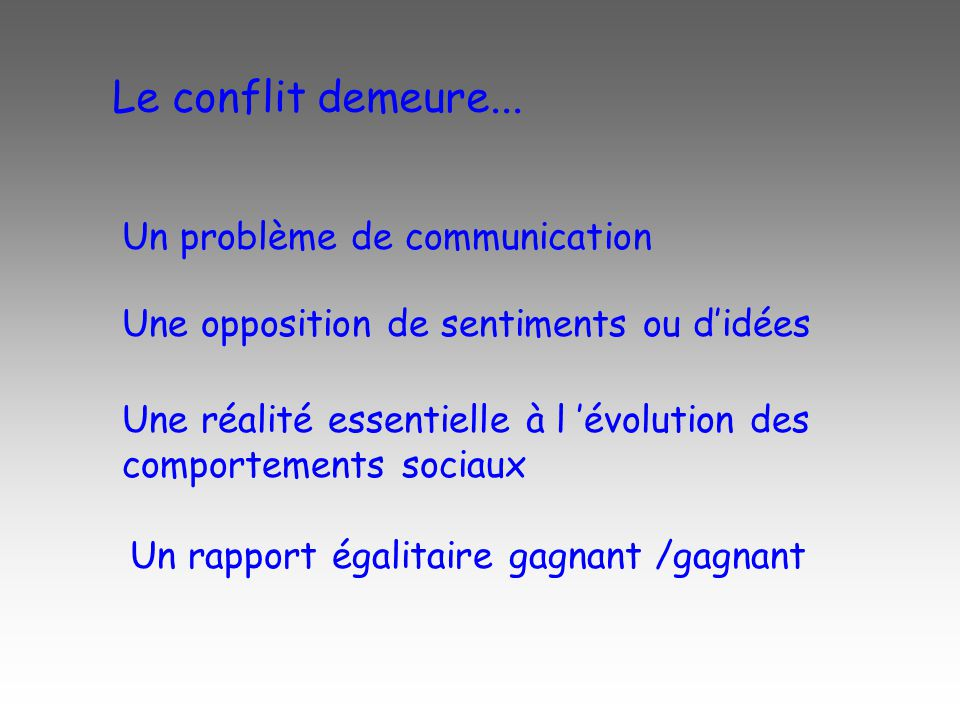 Le conflit demeure... Un problème de communication