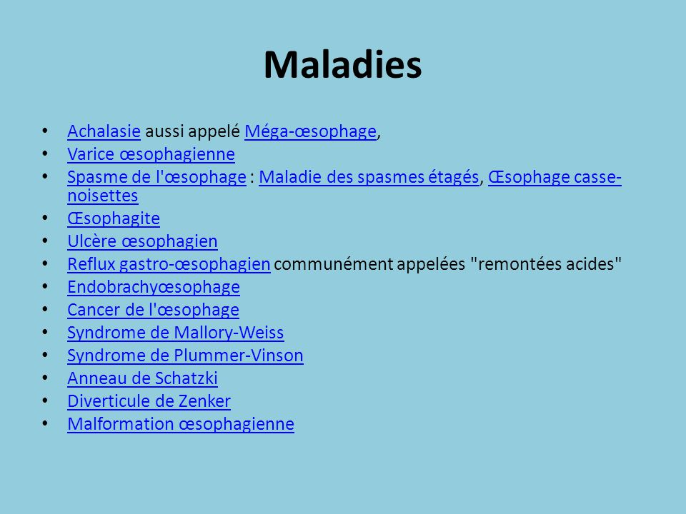Maladies Achalasie aussi appelé Méga-œsophage, Varice œsophagienne