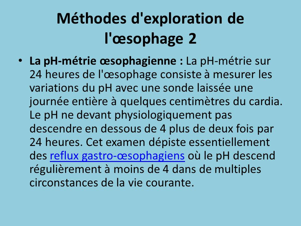 Méthodes d exploration de l œsophage 2