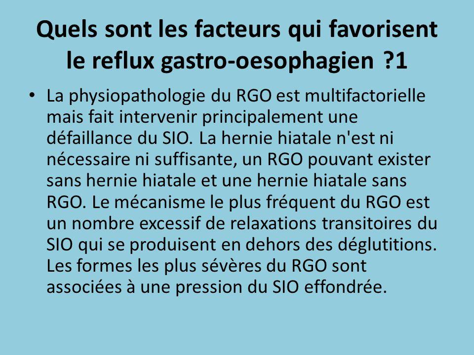 Quels sont les facteurs qui favorisent le reflux gastro-oesophagien 1